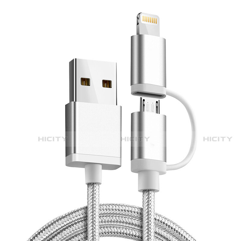 Chargeur Lightning Cable Data Synchro Cable Android Micro USB C01 pour Apple iPhone 11 Pro Argent Plus