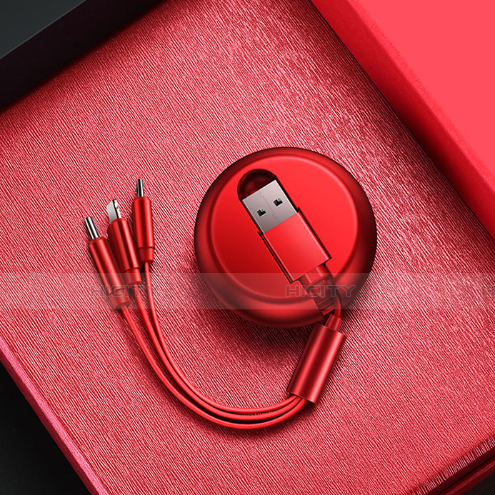 Chargeur Lightning Cable Data Synchro Cable Android Micro USB C09 pour Apple iPhone 11 Pro Rouge Plus