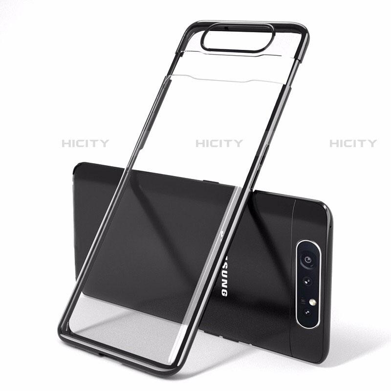 Coque Antichocs Rigide Transparente Crystal Etui Housse H01 pour Samsung Galaxy A80 Noir Plus