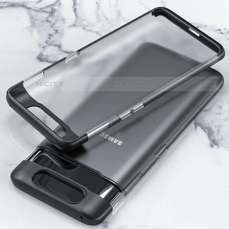 Coque Antichocs Rigide Transparente Crystal Etui Housse H02 pour Samsung Galaxy A80 Noir Plus