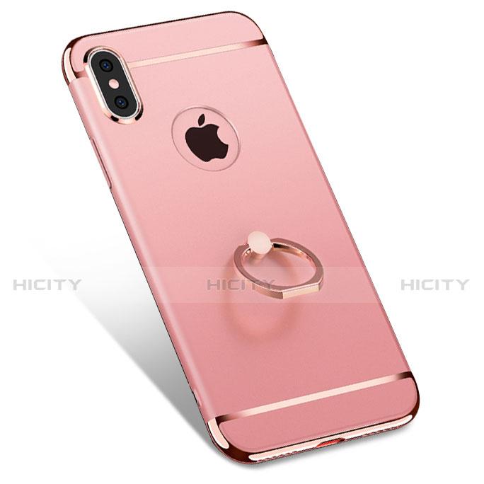 coque bumper luxe metal et plastique avec support bague anneau f02 pour apple iphone x or rose 13925 plus 1