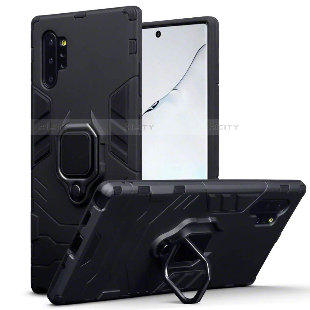 Coque Contour Silicone et Plastique Housse Etui Mat avec Magnetique Support A03 pour Samsung Galaxy Note 10 Plus 5G Noir Plus