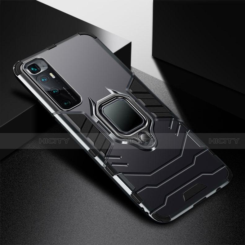 Coque Contour Silicone et Plastique Housse Etui Mat avec Magnetique Support Bague Anneau S01 pour Xiaomi Mi 10 Ultra Noir Plus