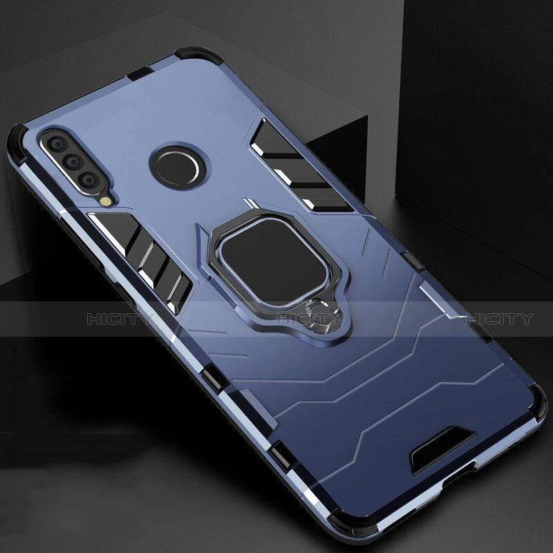 Coque Contour Silicone et Plastique Housse Etui Mat avec Magnetique Support pour Huawei Honor 20 Lite Bleu Plus