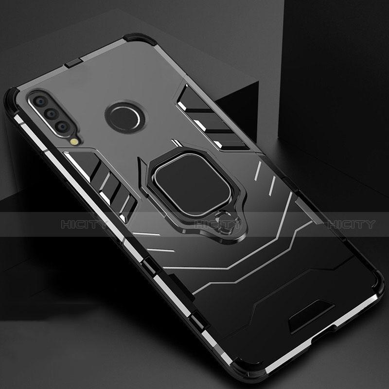 Coque Contour Silicone et Plastique Housse Etui Mat avec Magnetique Support pour Huawei Honor 20 Lite Noir Plus