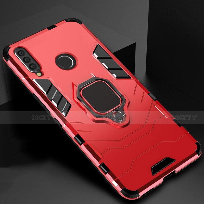 Coque Contour Silicone et Plastique Housse Etui Mat avec Magnetique Support pour Huawei Honor 20 Lite Rouge Plus