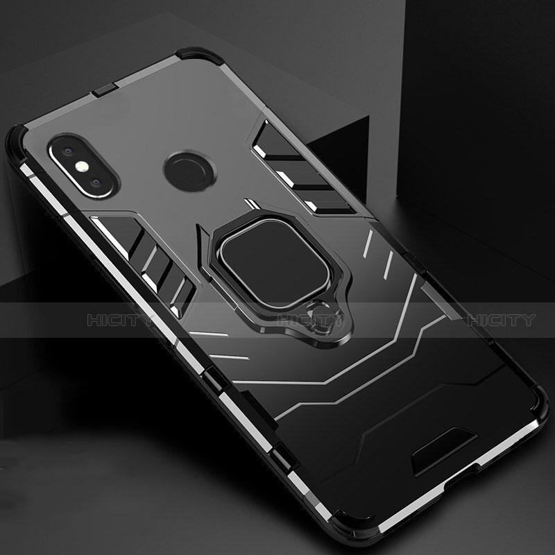 Coque Contour Silicone et Plastique Housse Etui Mat avec Magnetique Support pour Xiaomi Mi A2 Noir Plus