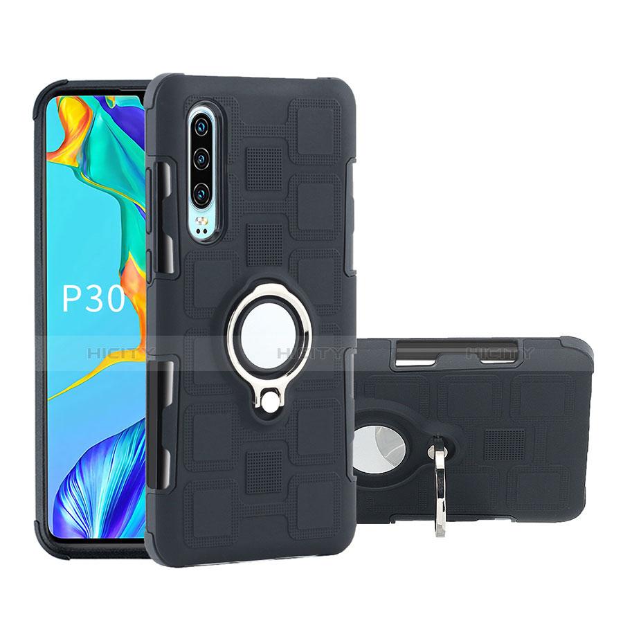 Coque Contour Silicone et Plastique Housse Etui Mat avec Support Bague Anneau S01 pour Huawei P30 Noir Plus