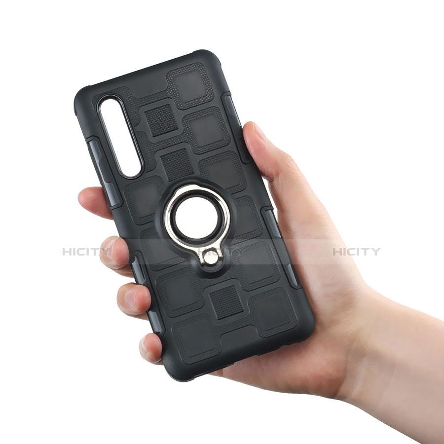 Coque Contour Silicone et Plastique Housse Etui Mat avec Support Bague Anneau S01 pour Huawei P30 Plus