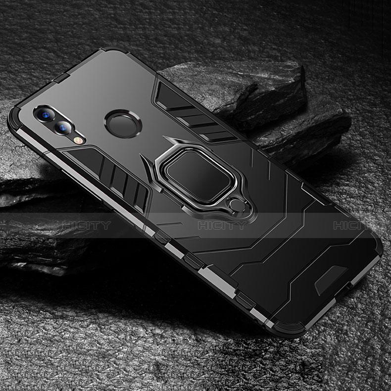 Coque Contour Silicone et Plastique Housse Etui Mat avec Support pour Huawei Honor 8X Noir Plus