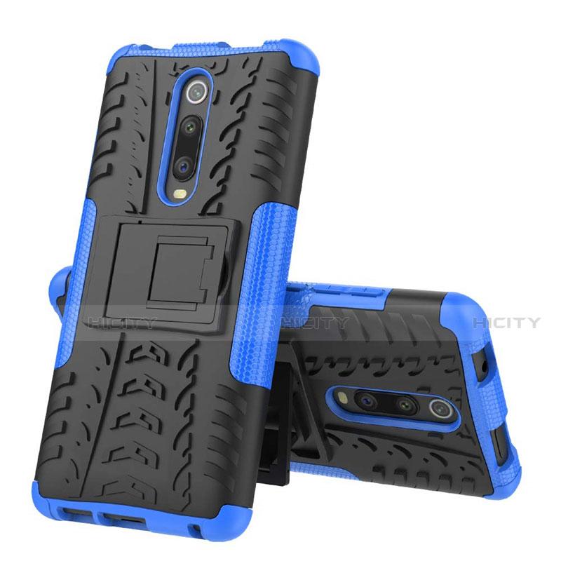 Coque Contour Silicone et Plastique Housse Etui Mat avec Support R01 pour Xiaomi Mi 9T Pro Bleu Plus
