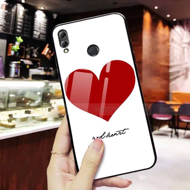 Coque Contour Silicone et Vitre Amour Coeur Miroir S02 pour Huawei Honor 8X Rouge Plus