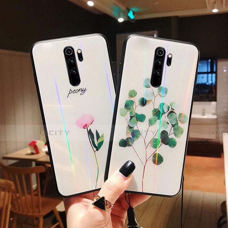 Coque Contour Silicone et Vitre Fleurs Miroir Etui Housse pour Xiaomi Redmi Note 8 Pro Plus