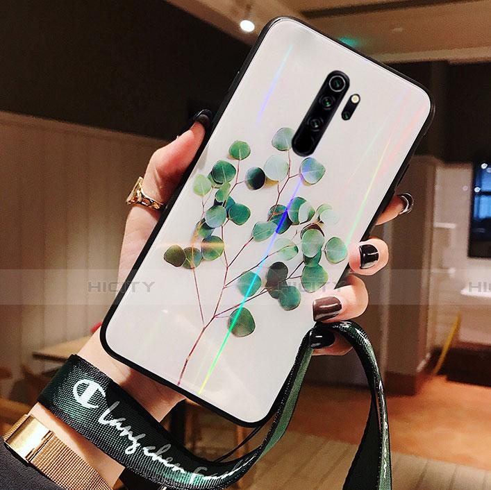 Coque Contour Silicone et Vitre Fleurs Miroir Etui Housse pour Xiaomi Redmi Note 8 Pro Vert Plus