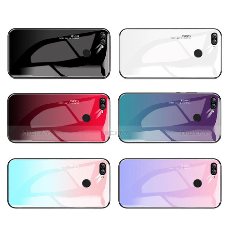 Coque Contour Silicone et Vitre Miroir Housse Etui Degrade Arc en Ciel pour Huawei P Smart Plus