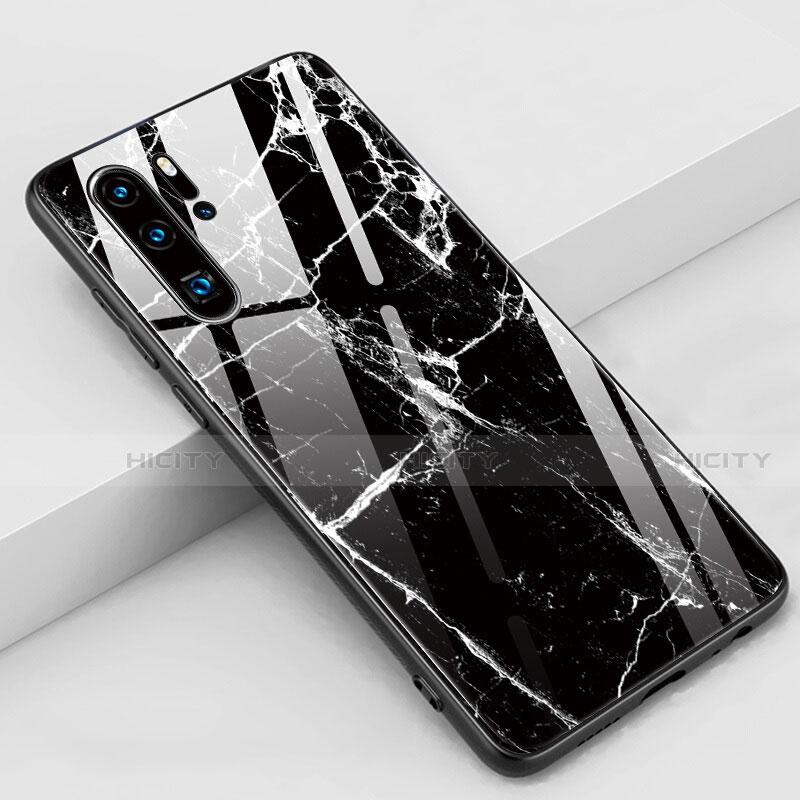 Coque Contour Silicone et Vitre Motif Fantaisie Miroir Etui Housse K03 pour Huawei P30 Pro Noir Plus
