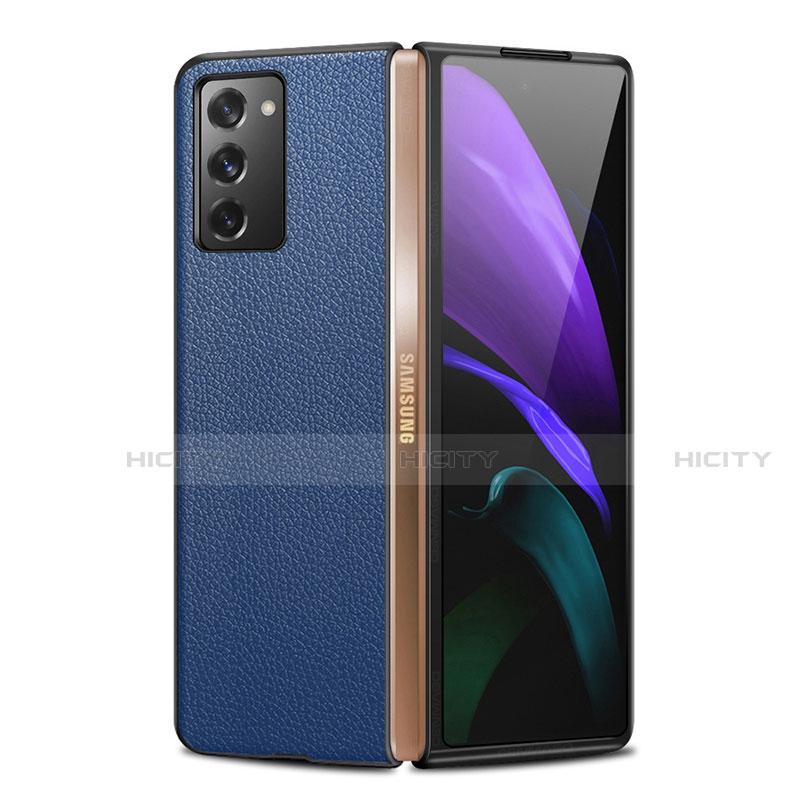 Coque Luxe Cuir Housse Etui pour Samsung Galaxy Z Fold2 5G Bleu Plus