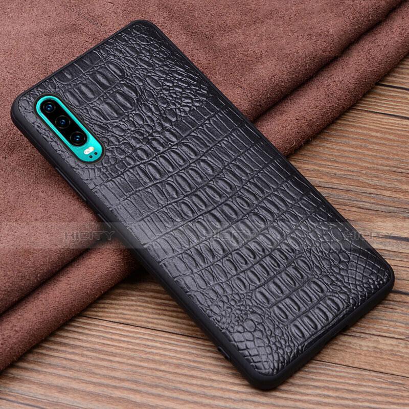 Coque Luxe Cuir Housse Etui R02 pour Huawei P30 Noir Plus