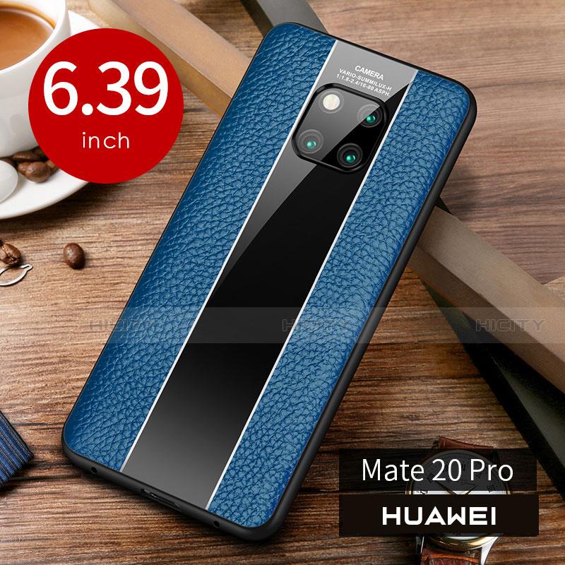 Coque Luxe Cuir Housse Etui S01 pour Huawei Mate 20 Pro Bleu Plus
