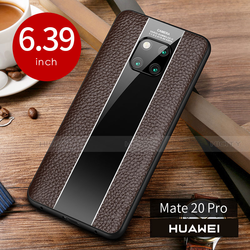 Coque Luxe Cuir Housse Etui S01 pour Huawei Mate 20 Pro Marron Plus