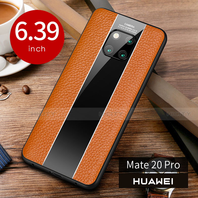 Coque Luxe Cuir Housse Etui S01 pour Huawei Mate 20 Pro Orange Plus