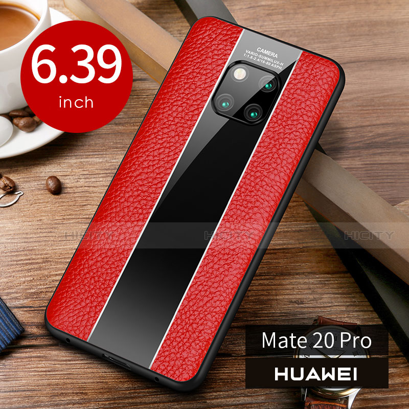 Coque Luxe Cuir Housse Etui S01 pour Huawei Mate 20 Pro Rouge Plus