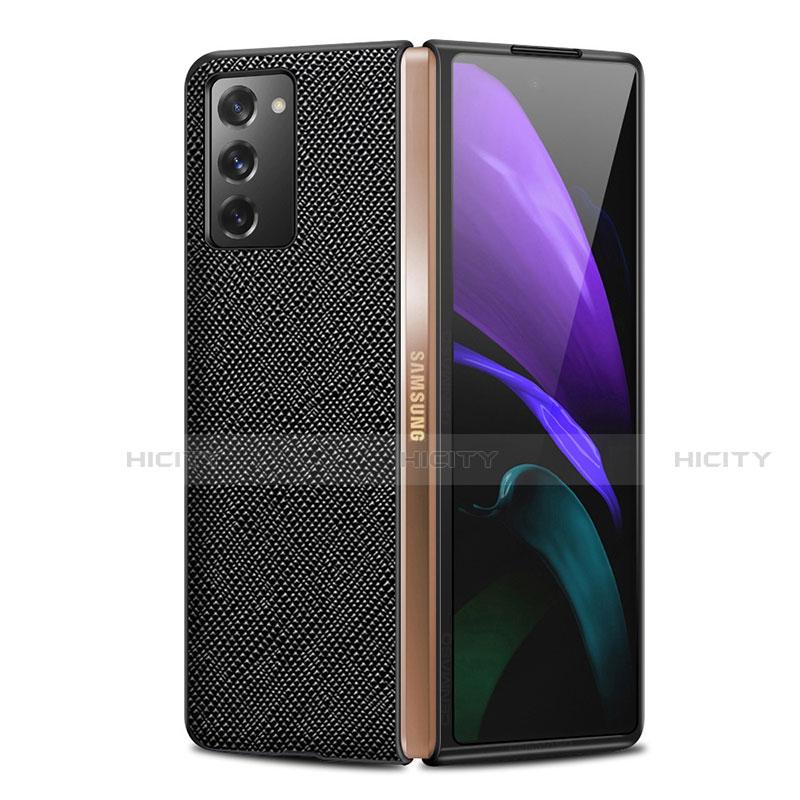 Coque Luxe Cuir Housse Etui S01 pour Samsung Galaxy Z Fold2 5G Noir Plus