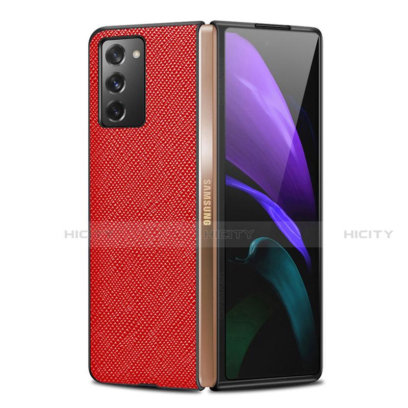 Coque Luxe Cuir Housse Etui S01 pour Samsung Galaxy Z Fold2 5G Rouge Plus