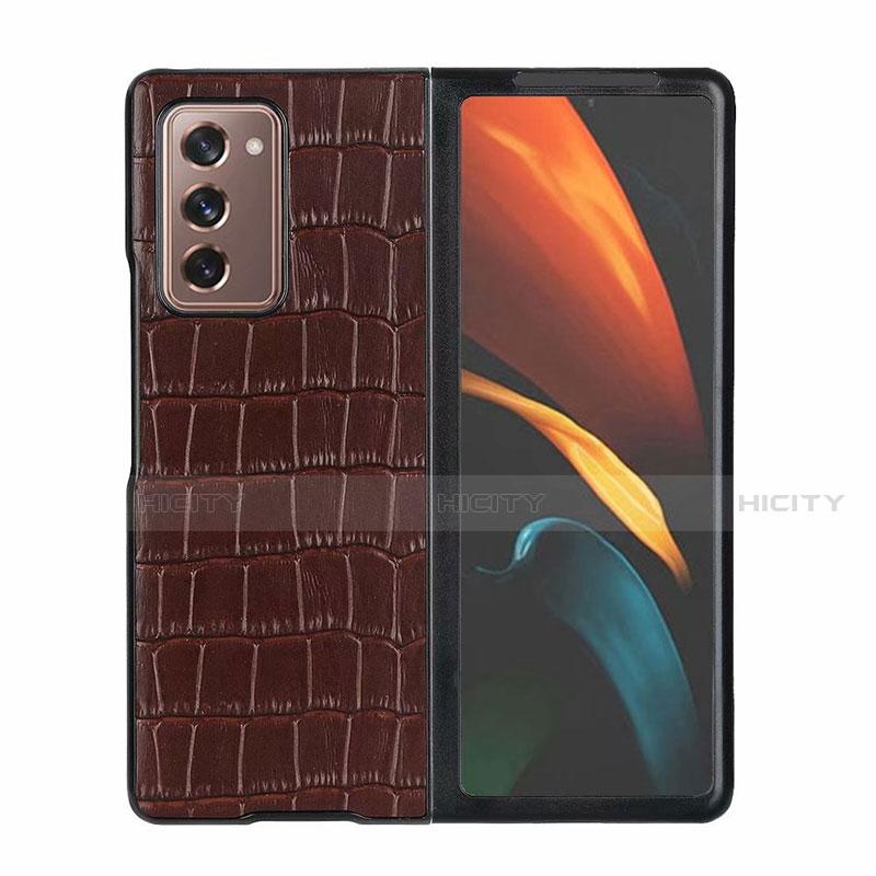 Coque Luxe Cuir Housse Etui S02 pour Samsung Galaxy Z Fold2 5G Marron Plus