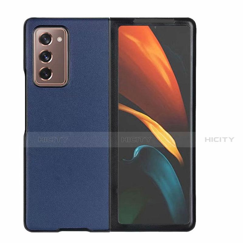 Coque Luxe Cuir Housse Etui S03 pour Samsung Galaxy Z Fold2 5G Bleu Plus