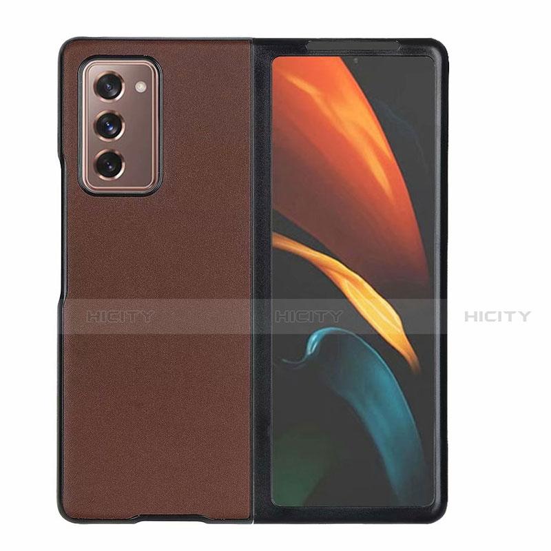 Coque Luxe Cuir Housse Etui S03 pour Samsung Galaxy Z Fold2 5G Marron Plus