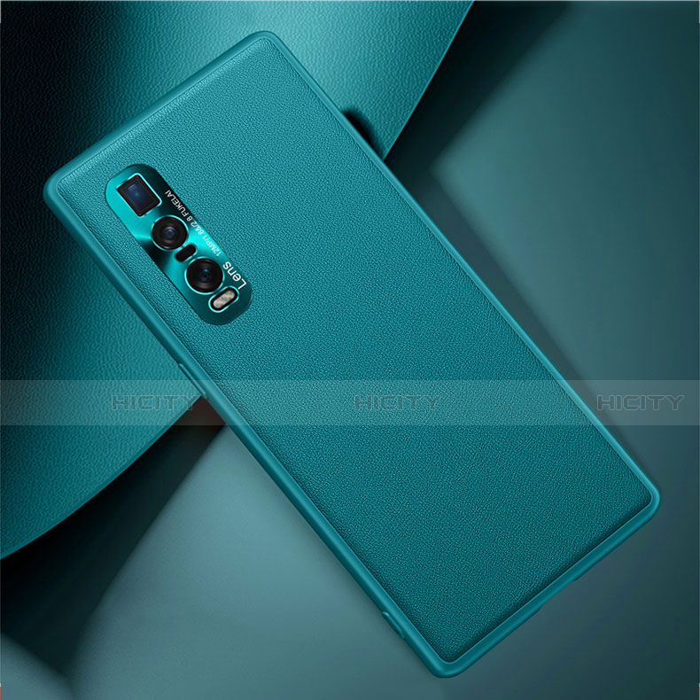 Coque Luxe Cuir Housse Etui U01 pour Oppo Find X2 Pro Cyan Plus