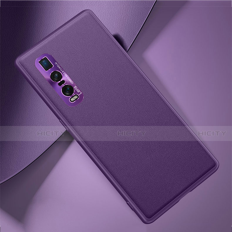 Coque Luxe Cuir Housse Etui U01 pour Oppo Find X2 Pro Violet Plus