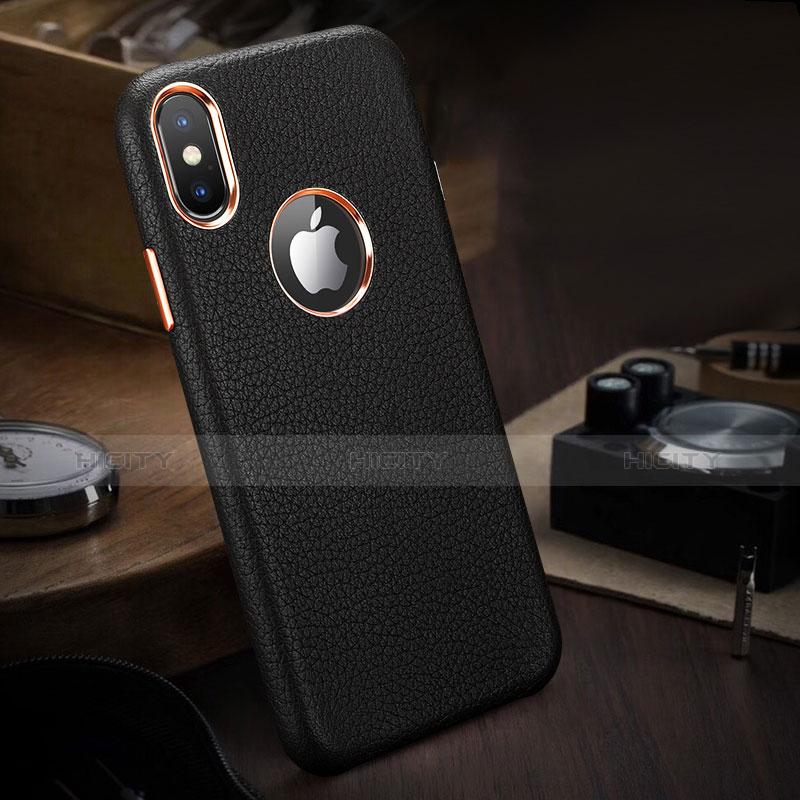 coque luxe cuir housse l04 pour apple iphone x noir 13868 plus 3