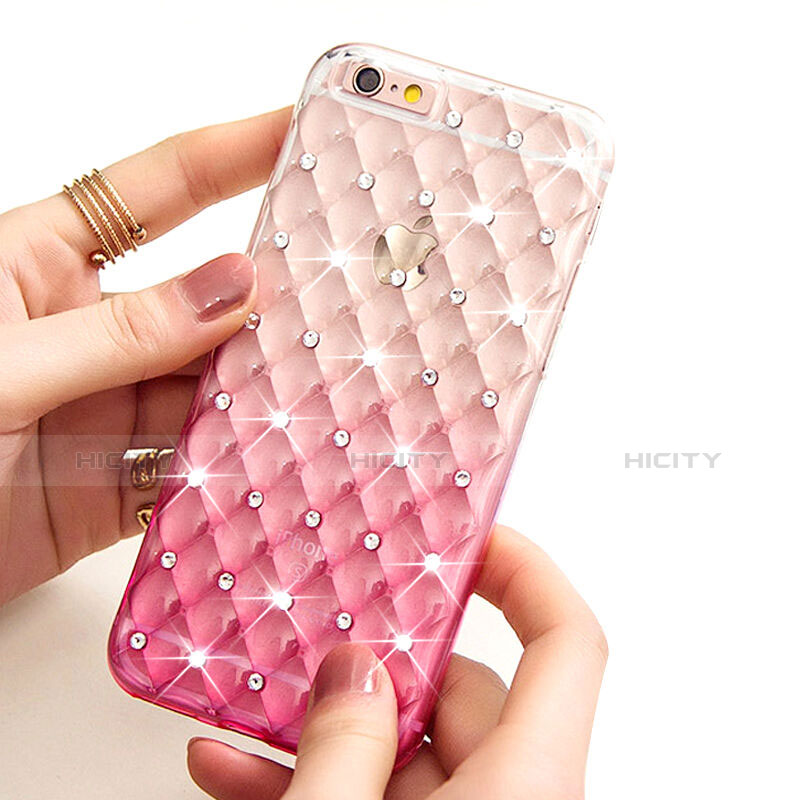 Coque Luxe Strass Bling Diamant Transparente Degrade pour Apple iPhone 6 Rose Plus