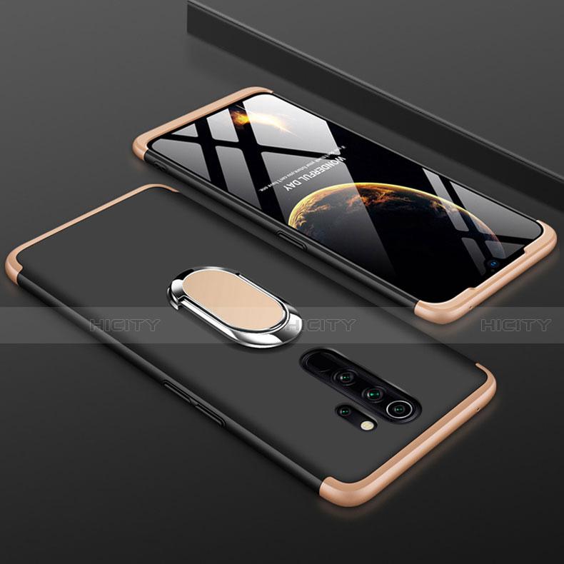 Coque Plastique Mat Protection Integrale 360 Degres Avant et Arriere Etui Housse avec Support Bague Anneau pour Xiaomi Redmi Note 8 Pro Or et Noir Plus