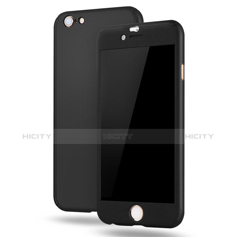 Coque Plastique Mat Protection Integrale 360 Degres Avant et Arriere Etui Housse M02 pour Apple iPhone 6 Plus Noir Plus