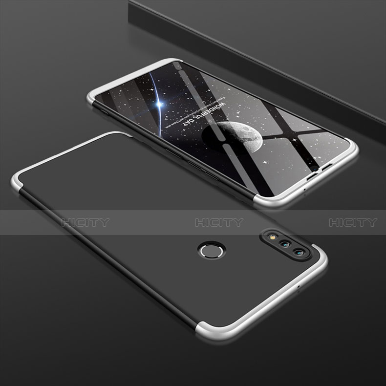 Coque Plastique Mat Protection Integrale 360 Degres Avant et Arriere Etui Housse pour Huawei Honor 8X Argent et Noir Plus