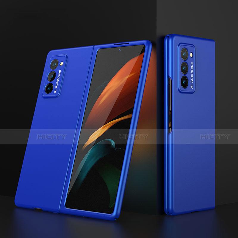 Coque Plastique Mat Protection Integrale 360 Degres Avant et Arriere Etui Housse pour Samsung Galaxy Z Fold2 5G Bleu Plus
