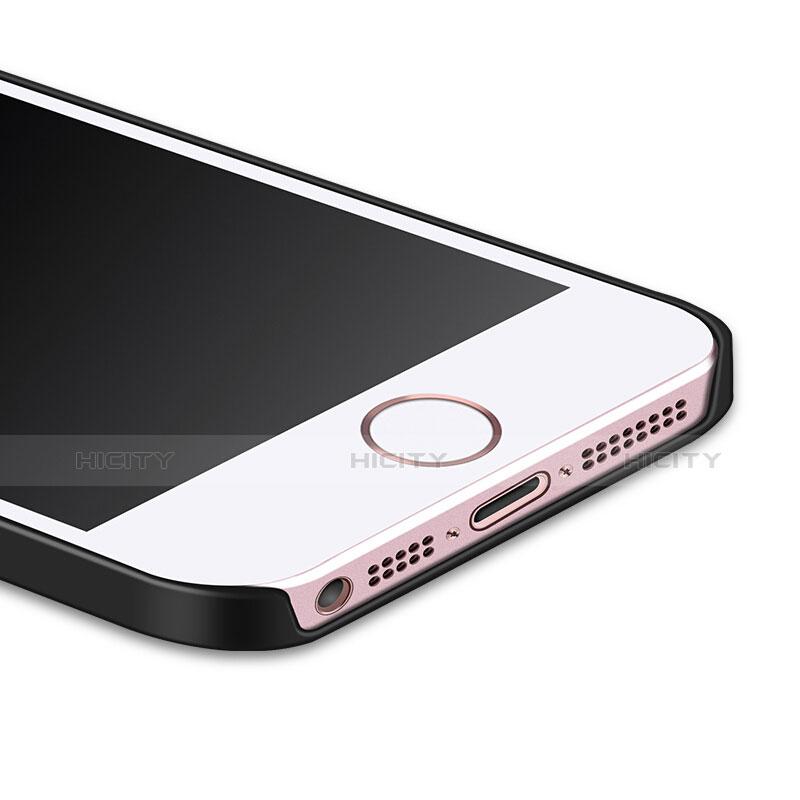 coque plastique rigide mat et support bague anneau pour apple iphone se noir 6318 plus 3