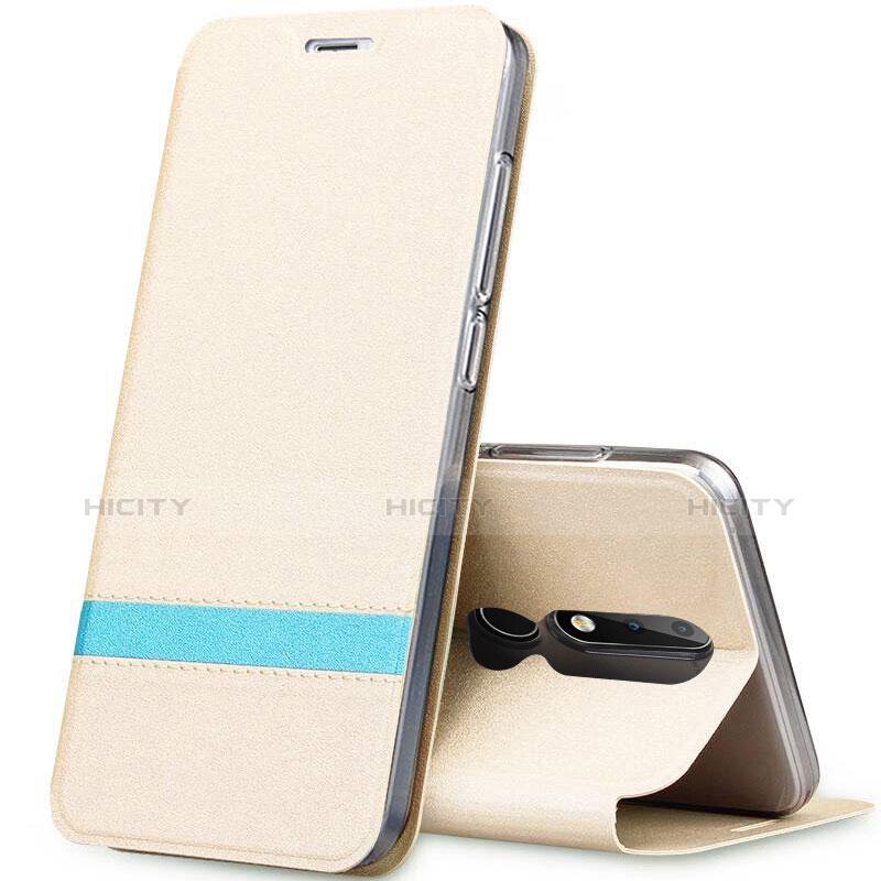 Coque Portefeuille Livre Cuir Etui Clapet L01 pour Nokia X5 Or Plus