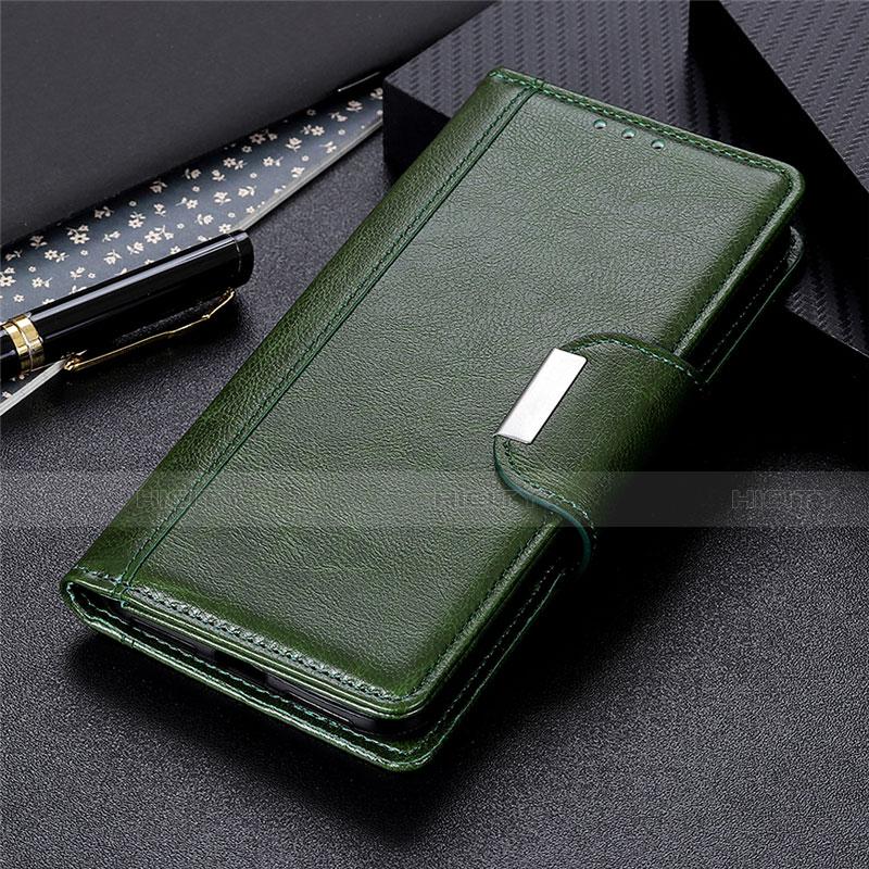 Coque Portefeuille Livre Cuir Etui Clapet L02 pour Oppo Reno3 A Vert Plus