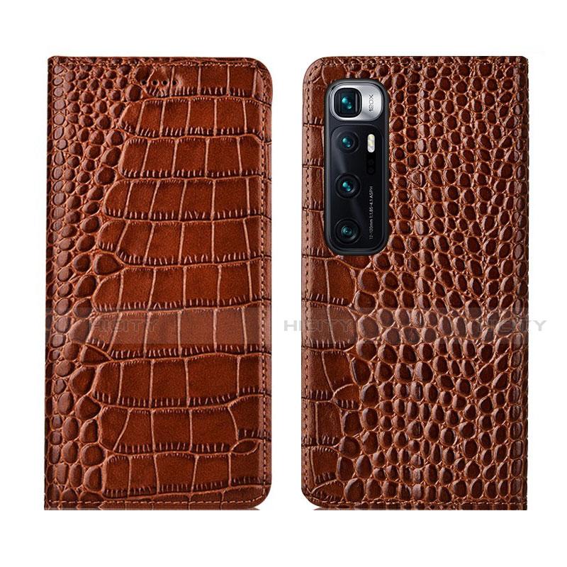 Coque Portefeuille Livre Cuir Etui Clapet L04 pour Xiaomi Mi 10 Ultra Brun Clair Plus