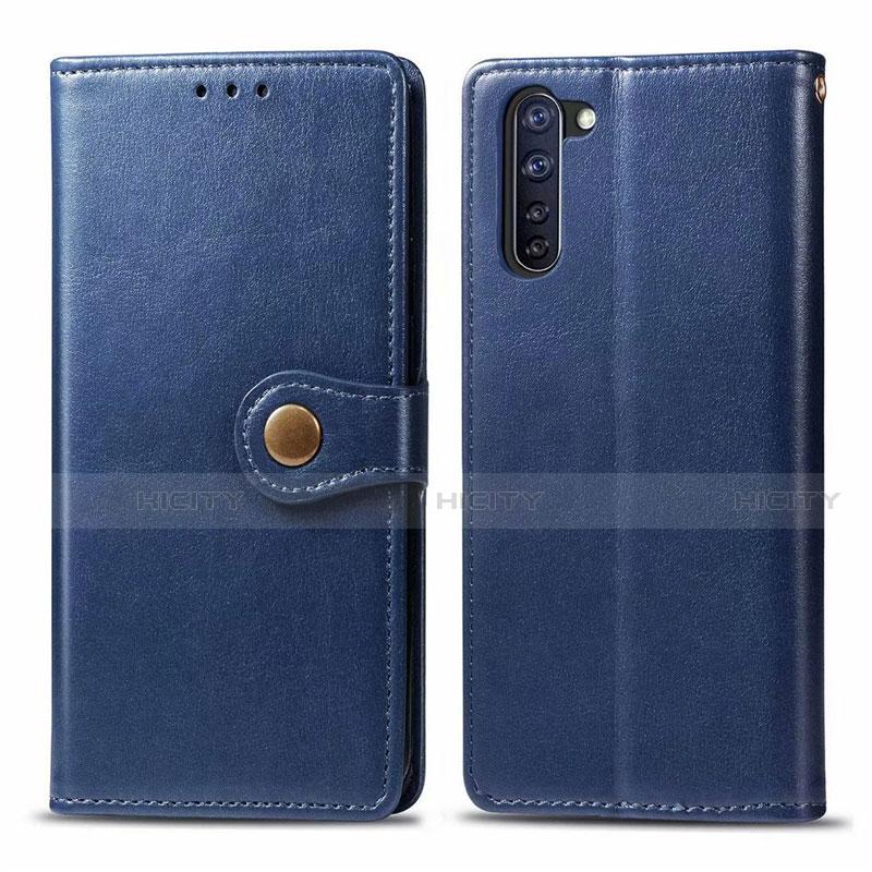Coque Portefeuille Livre Cuir Etui Clapet L06 pour Oppo Reno3 A Bleu Plus