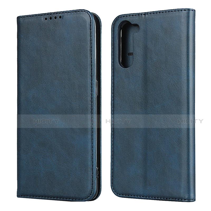 Coque Portefeuille Livre Cuir Etui Clapet L08 pour Oppo Reno3 A Bleu Plus