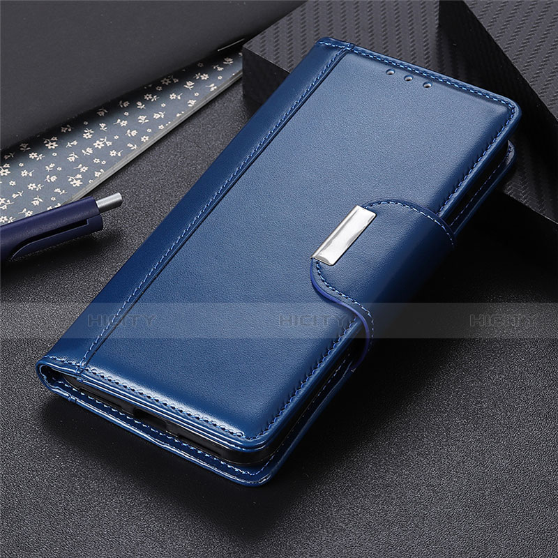 Coque Portefeuille Livre Cuir Etui Clapet L10 pour Oppo Reno3 A Bleu Plus