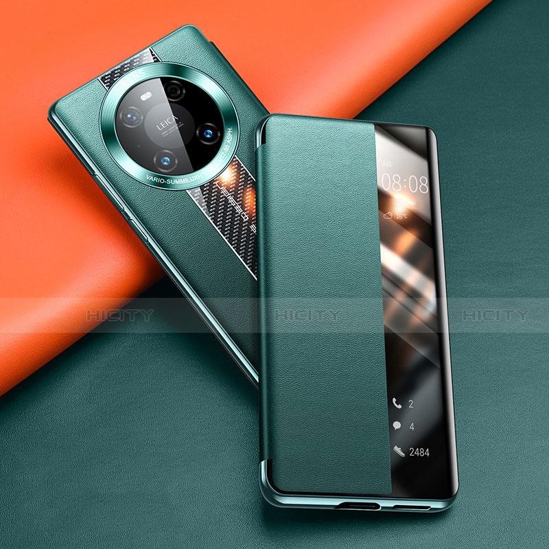 Coque Portefeuille Livre Cuir Etui Clapet T04 pour Huawei Mate 40 Pro Vert Plus