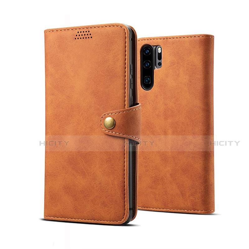 Coque Portefeuille Livre Cuir Etui Clapet T09 pour Huawei P30 Pro Orange Plus