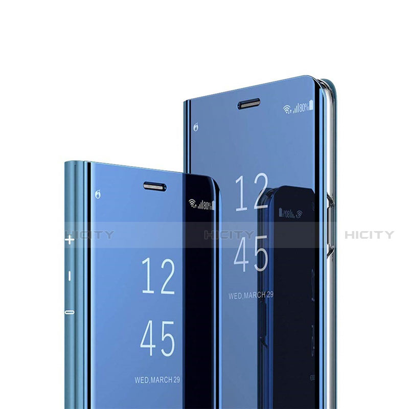 Coque Portefeuille Livre Cuir Miroir Housse Etui Clapet L02 pour Xiaomi Mi 10 Ultra Bleu Plus