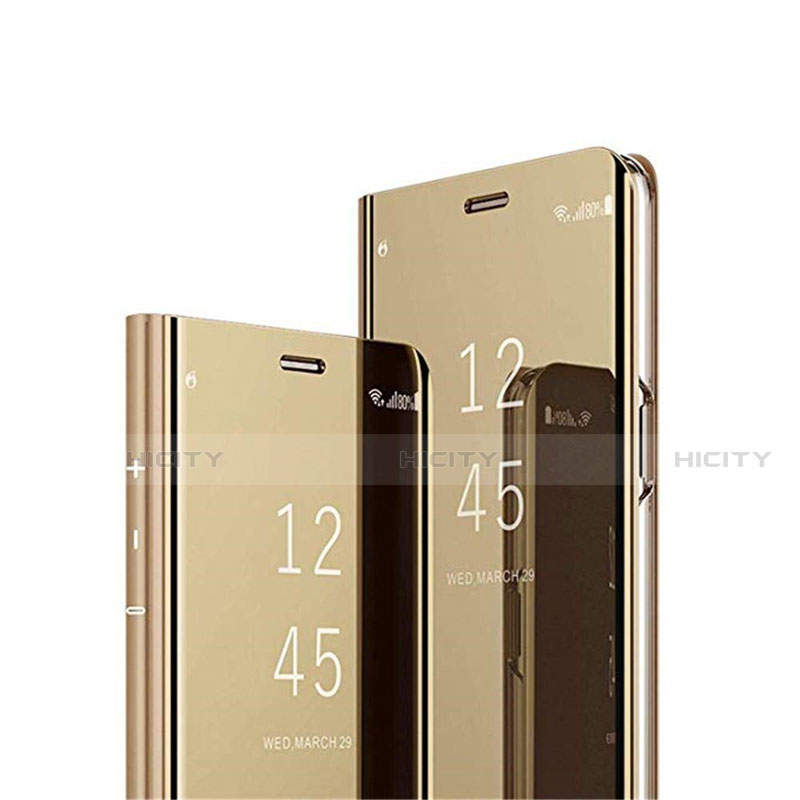 Coque Portefeuille Livre Cuir Miroir Housse Etui Clapet L02 pour Xiaomi Mi 10 Ultra Or Plus